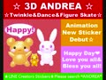LINE Sticker 3D ANDREA Twinkle & Dance & Figure Skate